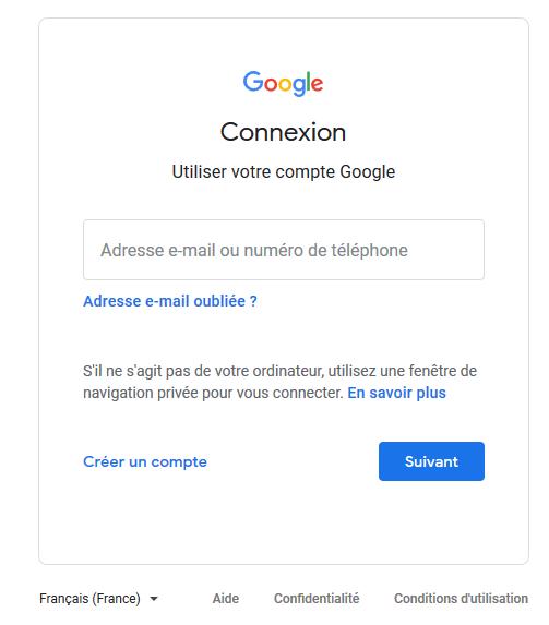Connexion google