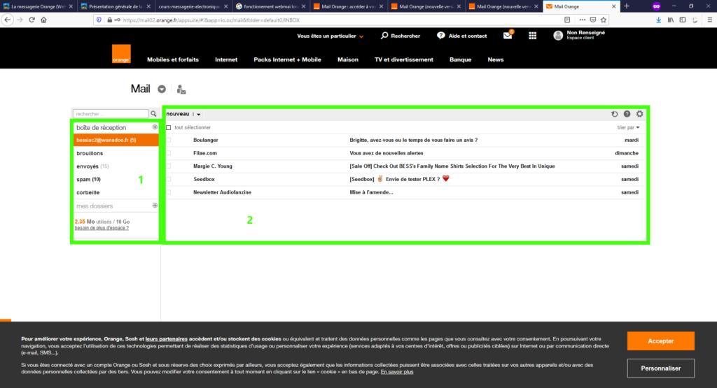 Ecran webmail Orange