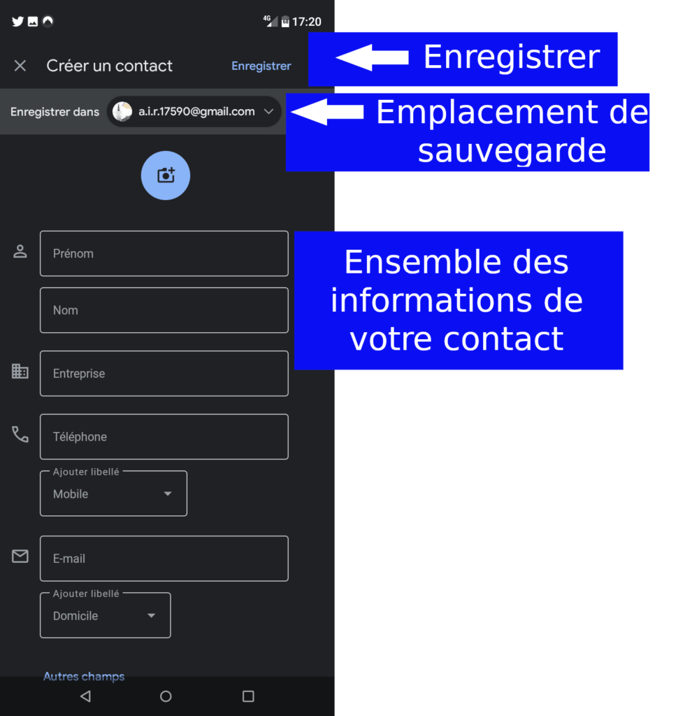 Créer un contact