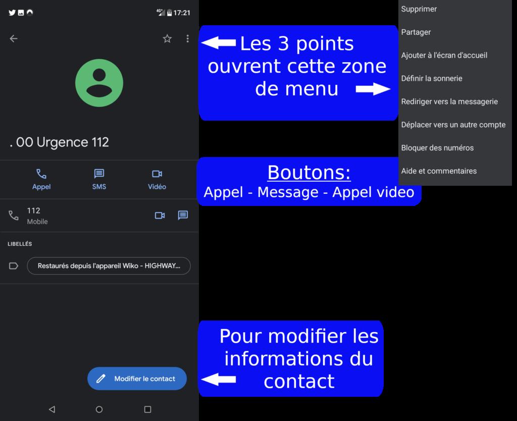 Modifier un contact