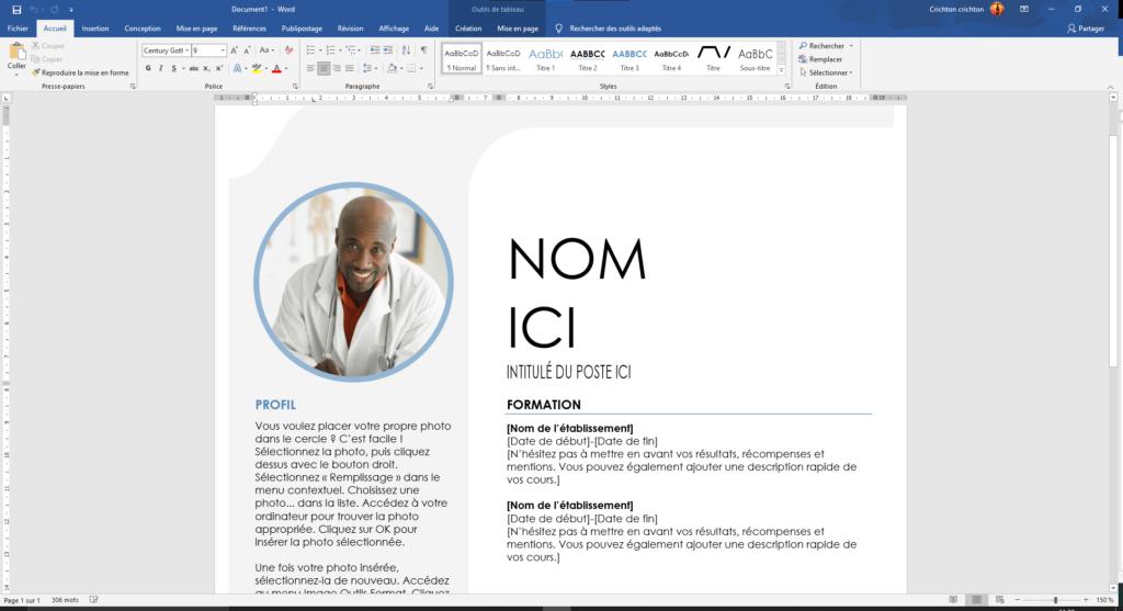 """Exemple de page ouverte avec le modèle """"C.V. gris bleu"""""""