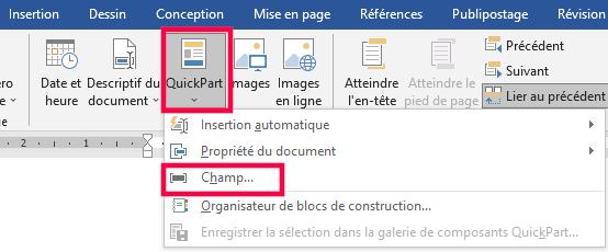 La fonction Quickpart