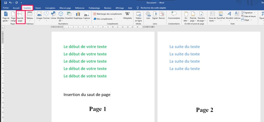 Saut page simple