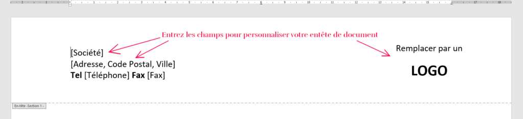 Exemple d'entête : « Société, Adresse, Ville, Code postal, Tel, Fax, Logo »