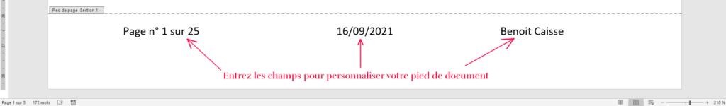 Exemple de pied de page : « N° de page, Nombre total de pages, Date et Auteur »