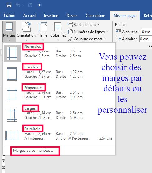 Présentation des types marges